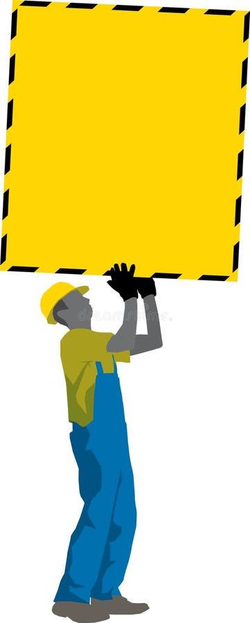 L'operaio di costruzione trasporta il manifesto degli annunci illustrazione di stock