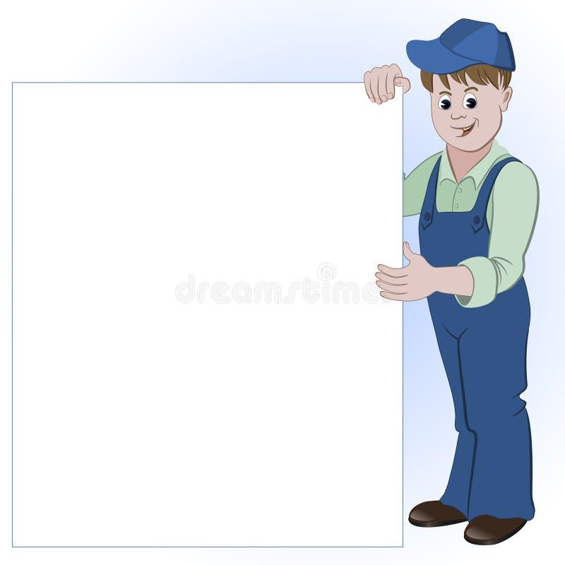 L'operaio o il tuttofare che sta con la lista di spazio per testo illustrazione di stock