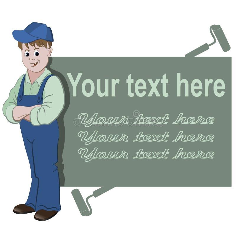L'operaio o il tuttofare che sta con lo spazio per testo illustrazione di stock