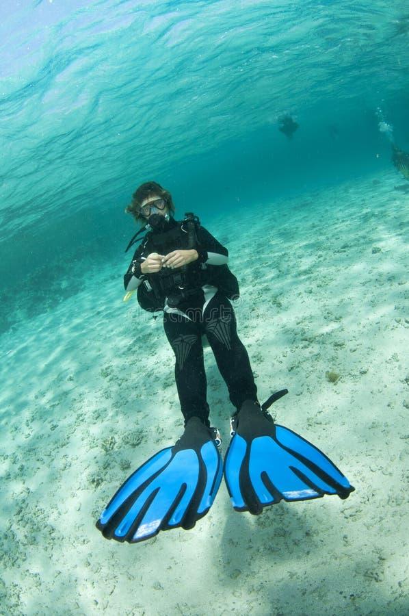 L'operatore subacqueo di scuba nuota indietro fotografia stock