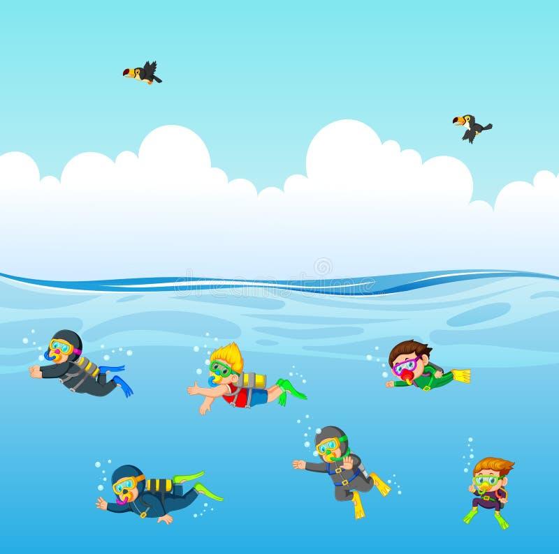 l'operatore subacqueo professionale sta tuffando sotto l'oceano blu illustrazione vettoriale