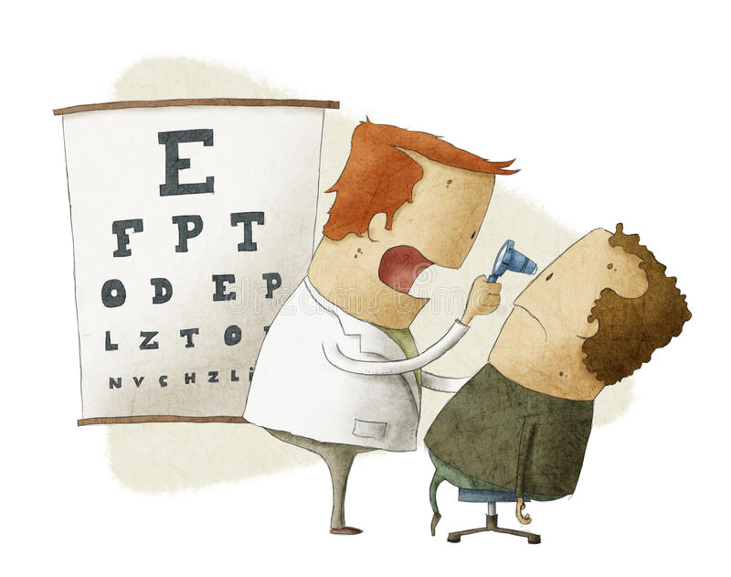L'ophtalmologue examine le patient illustration stock