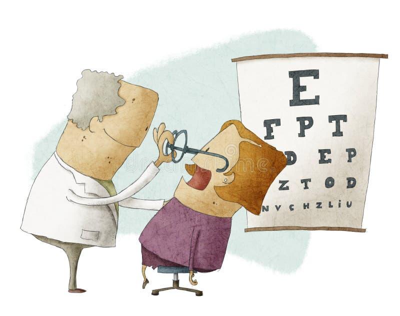 L'ophtalmologue a mis des verres sur un patient féminin illustration stock