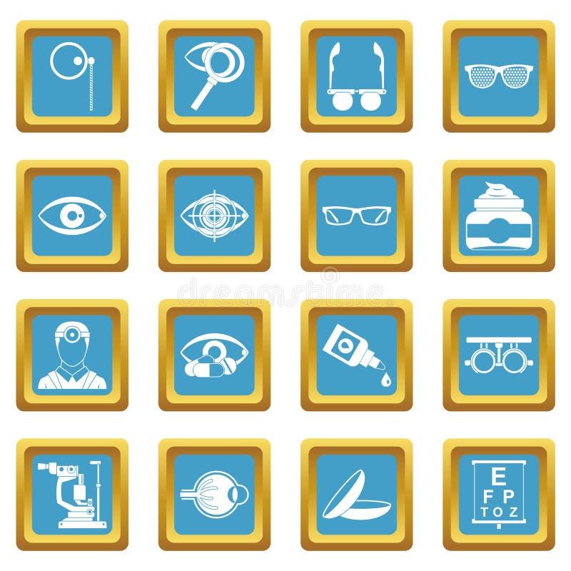 L'ophtalmologue usine des icônes azurées illustration stock