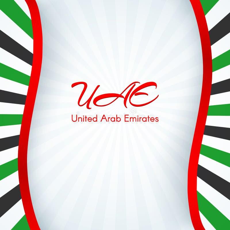 L'opuscolo con le linee spoglia i colori della bandiera nazionale degli Emirati Arabi Uniti UAE con testo per l'opuscolo del mode illustrazione vettoriale