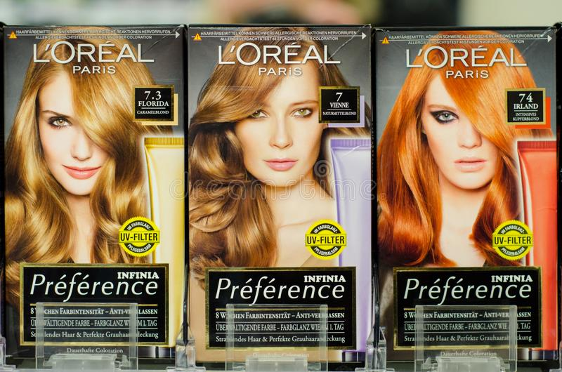 Soest, Germany - January 3, 2019: L`Oréal Paris Preference hair. L`Oréal Paris Preference hair dye for sale in the shop royalty free stock image