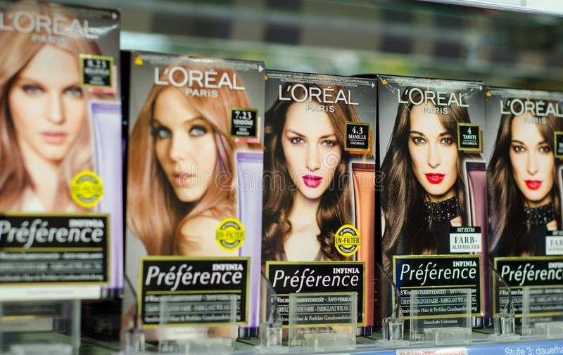 Soest, Germany - January 3, 2019: L`Oréal Paris Preference hair. L`Oréal Paris Preference hair dye for sale in the shop stock photos