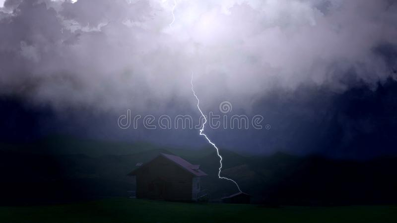 L'orage désastreux endommage considérablement des agriculteurs à la maison, foudre images stock