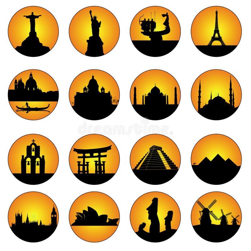 L'orange boutonne les endroits célèbres dans le monde illustration libre de droits