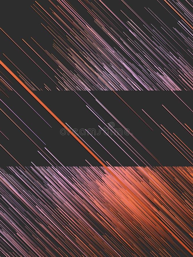 L'orange diagonale de Digital raye le fond abstrait rendu 3d illustration libre de droits