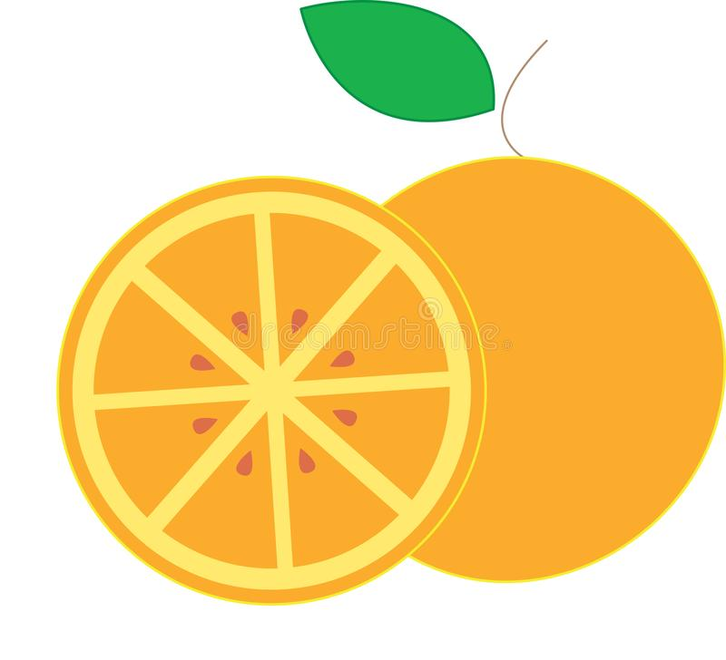 L'orange est un aliment de famille d'agrume illustration stock