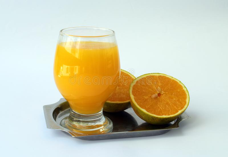 L'orange et le jus photographie stock