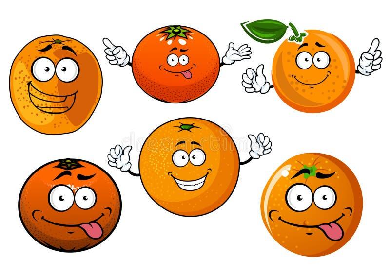 L'orange juteuse mûre de bande dessinée porte des fruits des caractères illustration libre de droits