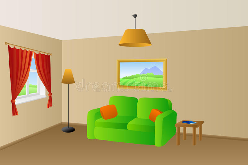 L'orange verte beige de sofa de salon repose l'illustration de fenêtre de lampes illustration libre de droits