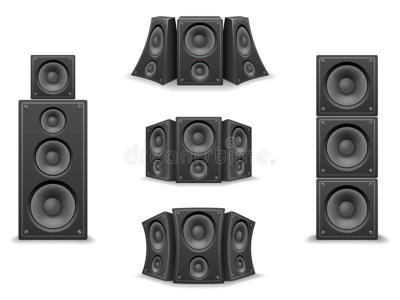 L'orateur de musique a tordu l'illustration réaliste d'isolement de vecteur de scénographie des icônes 3d illustration de vecteur