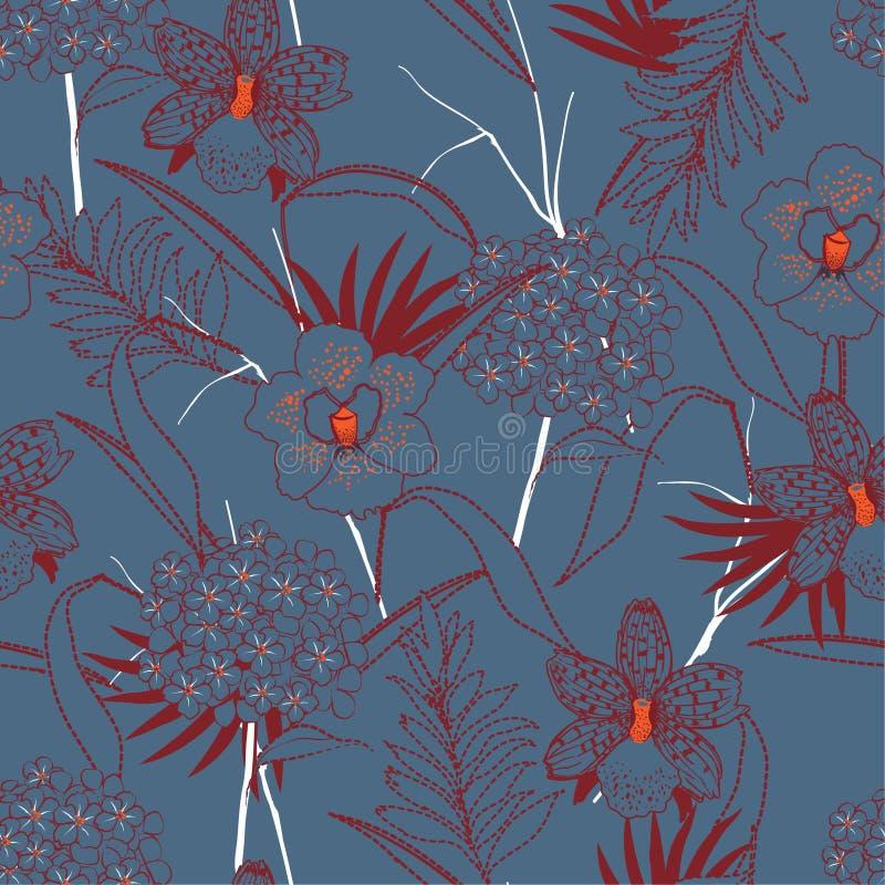L'orchidée de Rero et graden le mélange de fleur avec la ligne feuilles de tiret sans couture illustration stock