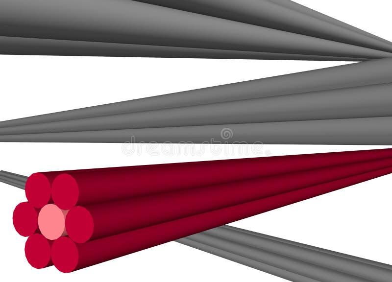L'ordinateur câble le partage de données d'Internet d'isolement illustration stock