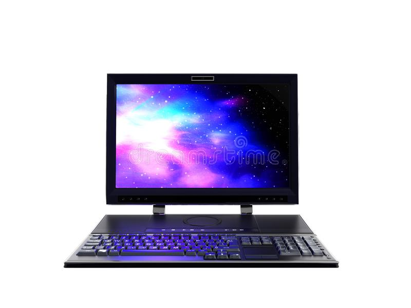 L'ordinateur de bureau avec le moniteur et le clavier dans 3d avant ne rendent sur le fond blanc aucune ombre illustration stock