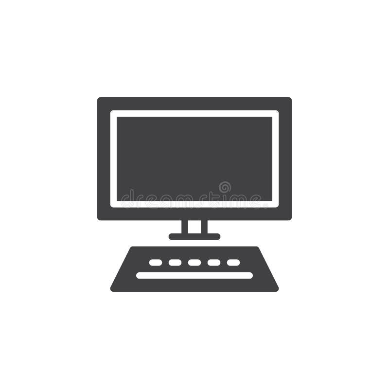 L'ordinateur de bureau, vecteur d'icône de poste de travail, a rempli signe plat, pictogramme solide d'isolement sur le blanc illustration libre de droits