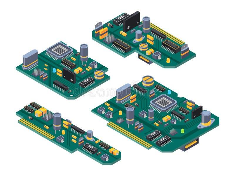 L'ordinateur différent embarque avec les semi-conducteurs, le condensateur et les puces illustration stock