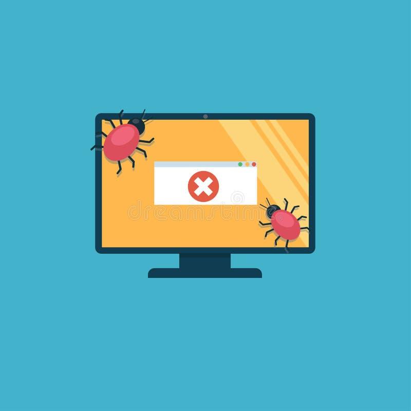 L'ordinateur est atteint des virus Sur l'écran il y a un message d'erreur illustration de vecteur