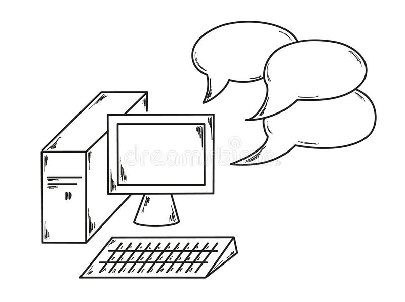 L'ordinateur et parlent la bulle illustration de vecteur