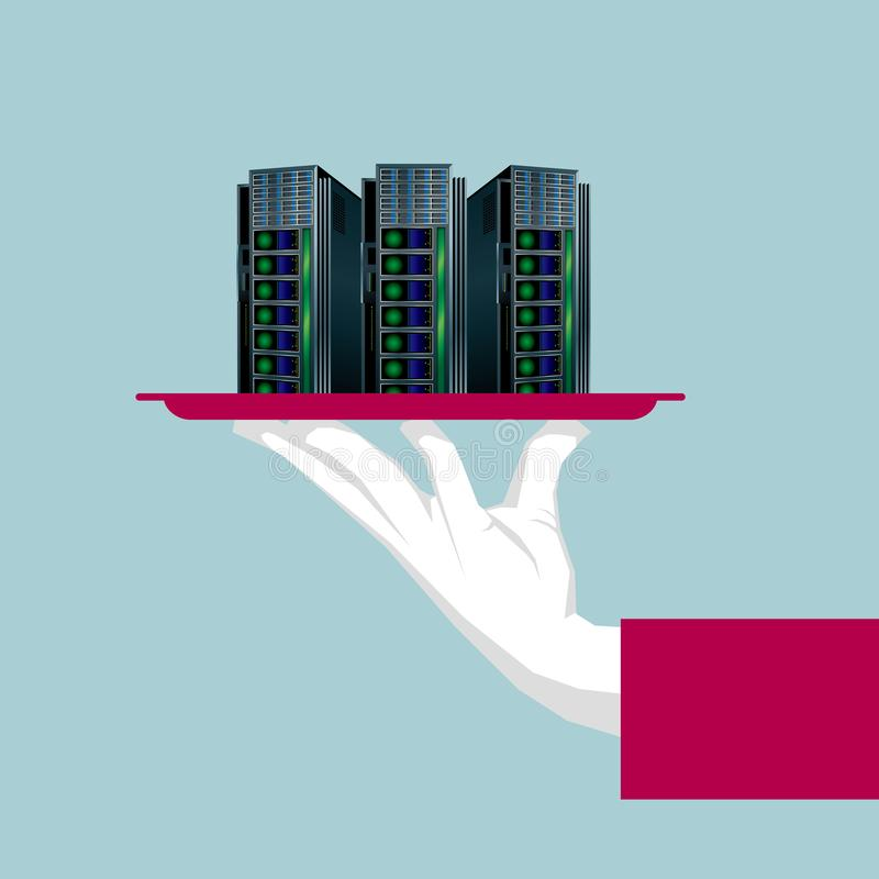 L'ordinateur géant est dans le plateau illustration libre de droits