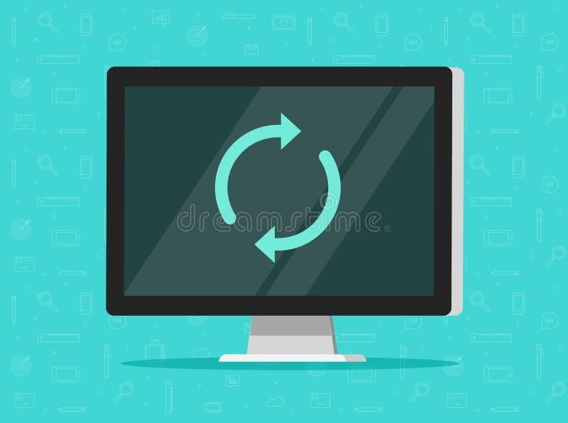 L'ordinateur mettant à jour l'illustration de vecteur, PC plat de bande dessinée avec synchronisent autour des flèches sur l'écra illustration de vecteur