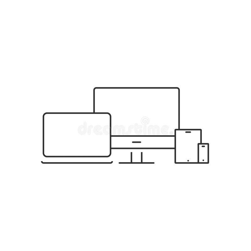 L'ordinateur nomade de vecteur d'icône d'ordinateur portable a isolé 10 illustration de vecteur