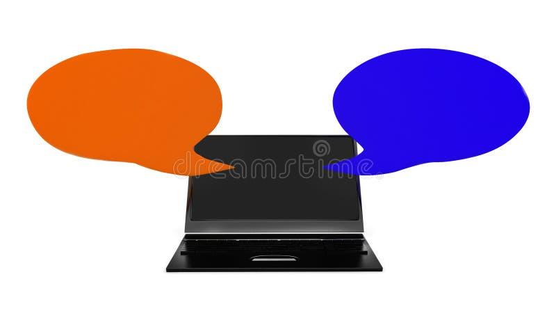l'ordinateur portable 3d avec le discours opposé bouillonne concept illustration de vecteur