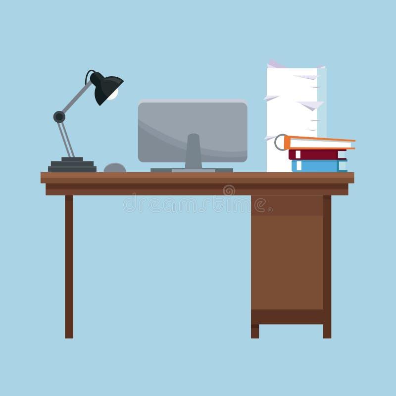 L'ordinateur portable de lampe de bureau de lieu de travail réserve la pile de documents illustration libre de droits