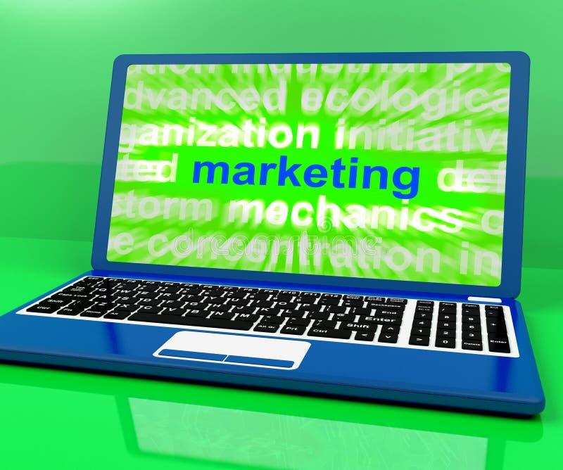 L'ordinateur portable de vente montre le Web Emarketing et les ventes en ligne illustration de vecteur