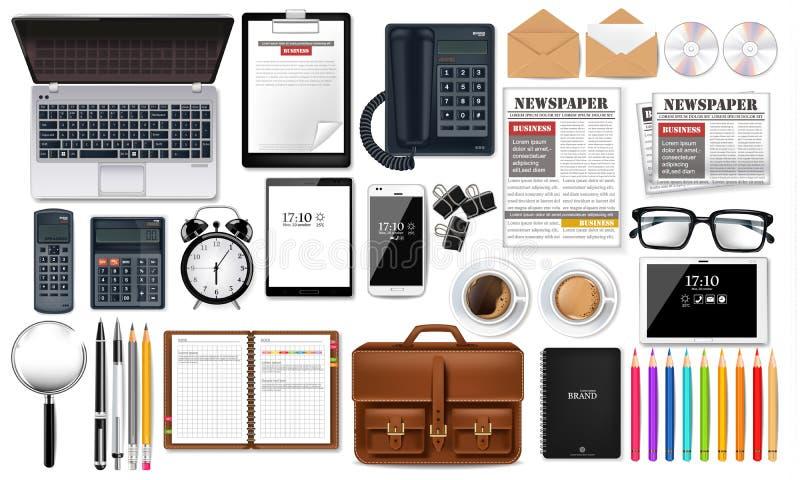 L'ordinateur portable, l'instrument et la collection réglée d'affaires de fournitures de bureau dirigent réaliste Verres, journal illustration libre de droits