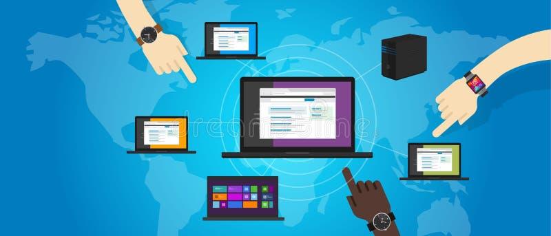 L'ordinateur portable local de mise en réseau de LAN de réseau relient l'Ethernet d'ordinateur au loin illustration libre de droits