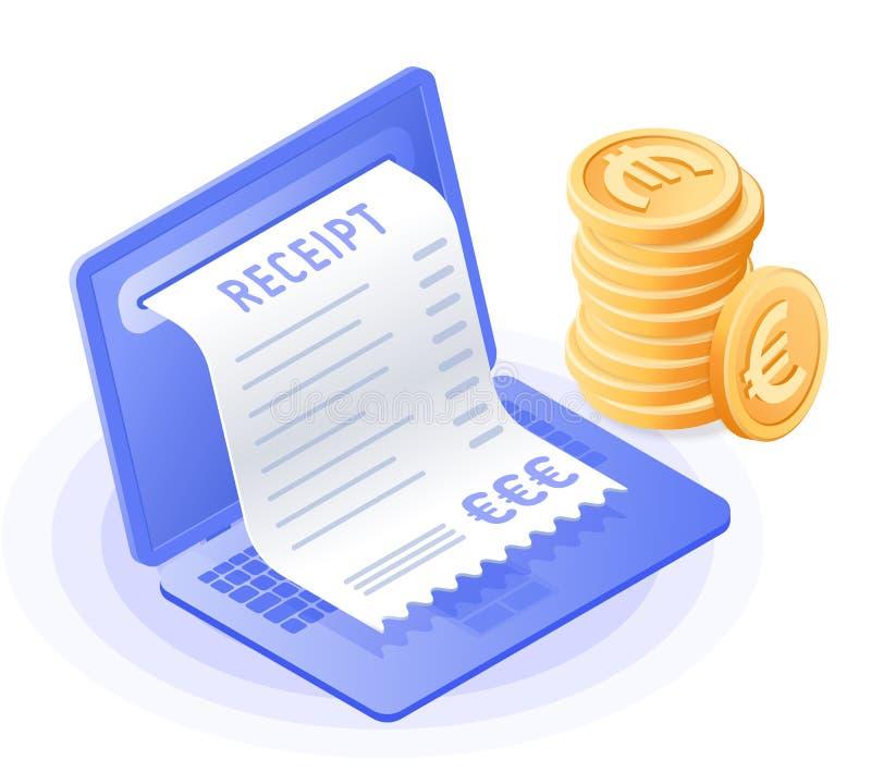 L'ordinateur portable, paiement en ligne de billet, pile d'euro pièces illustration de vecteur