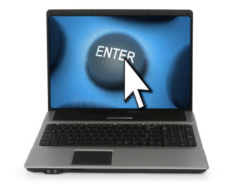 L'ordinateur portatif avec entrent dans le bouton photos stock