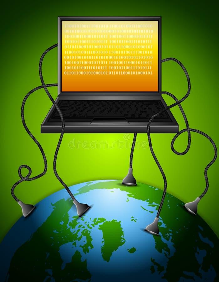 L'ordinateur portatif a branché à la terre illustration de vecteur