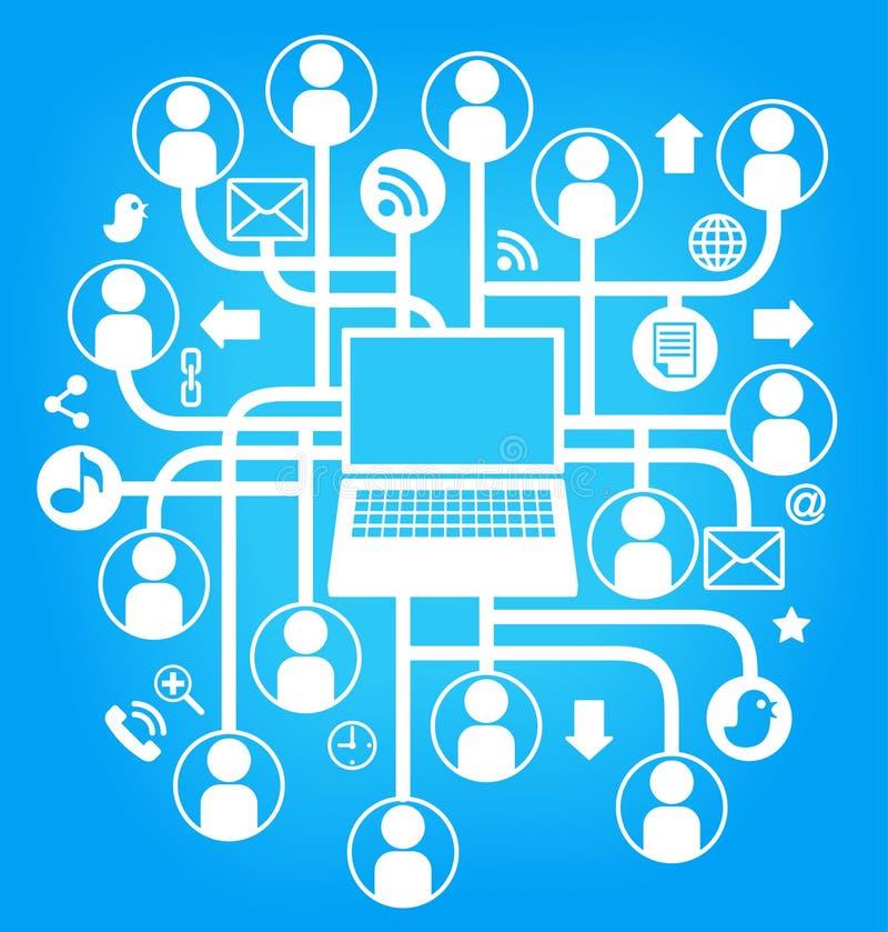 l'ordinateur portatif social de réseau chantent le bleu illustration stock