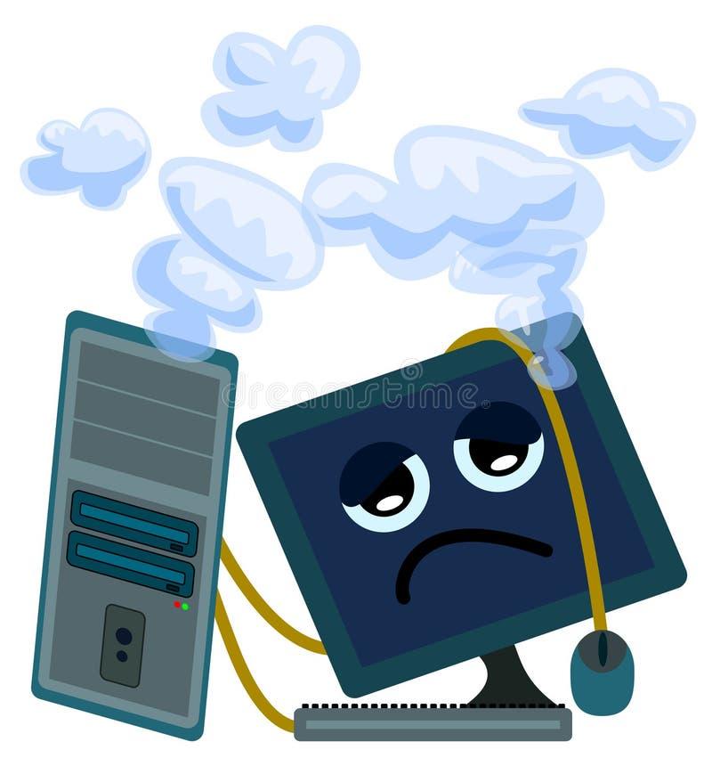 L'ordinateur s'est surmené illustration de vecteur