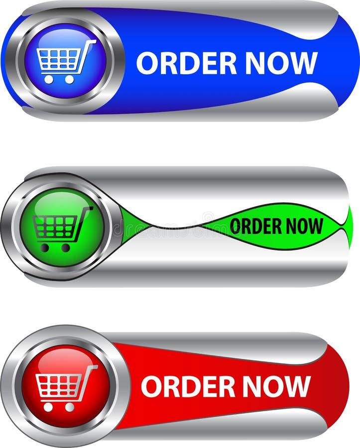 L'ordine metallico ora si abbottona/insieme dell'icona illustrazione di stock