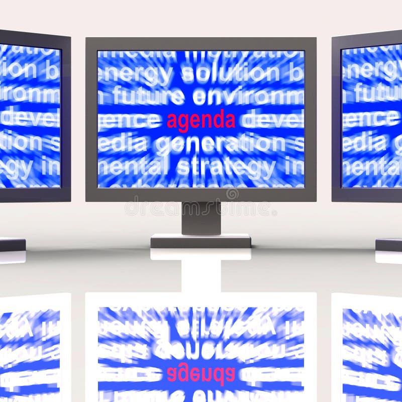 L'ordre du jour surveille la grille des programmes ou la ligne de moyens illustration stock