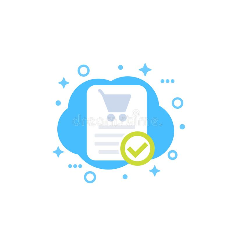 L'ordre en ligne, achat a accompli l'icône illustration stock