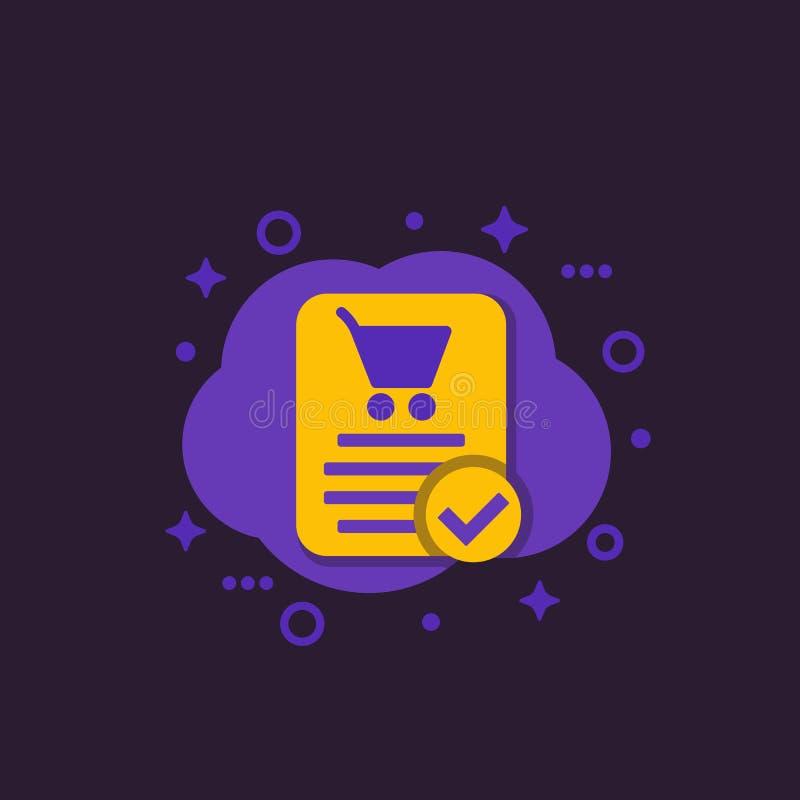 L'ordre en ligne, achat a accompli, icône de commerce électronique illustration stock
