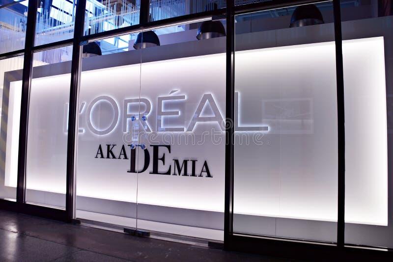 L ` Oreal Akademia Das Logo des Marke ` L ` Oreal-` stockfotografie
