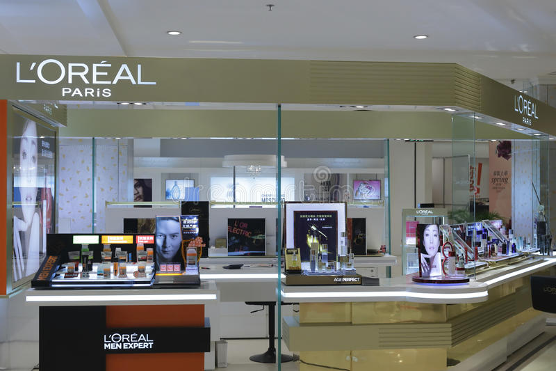 L'oreal cosmetics counter stock photography