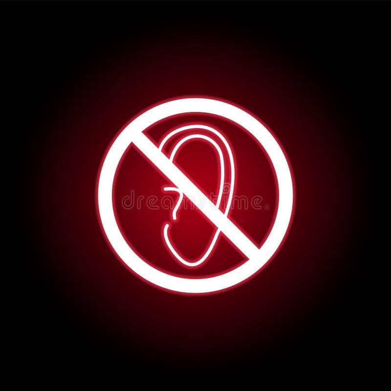 L'oreille interdite, écoutent icône dans le style au néon rouge Peut ?tre employ? pour le Web, logo, l'appli mobile, UI, UX illustration libre de droits