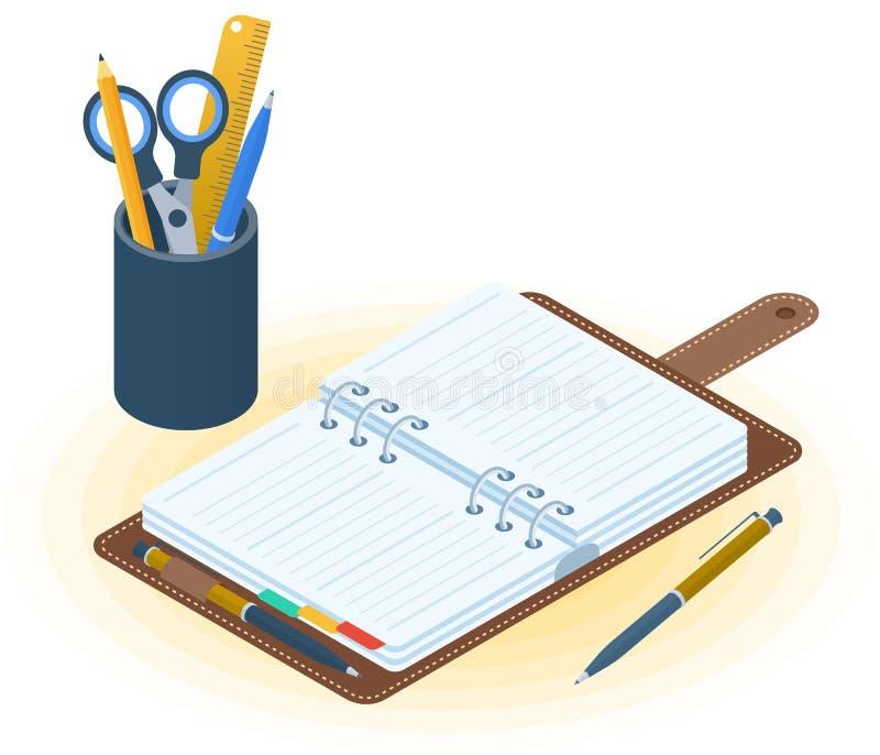 L'organisateur de planificateur, de stylo et de bureau Vecteur plat IL isométrique illustration stock