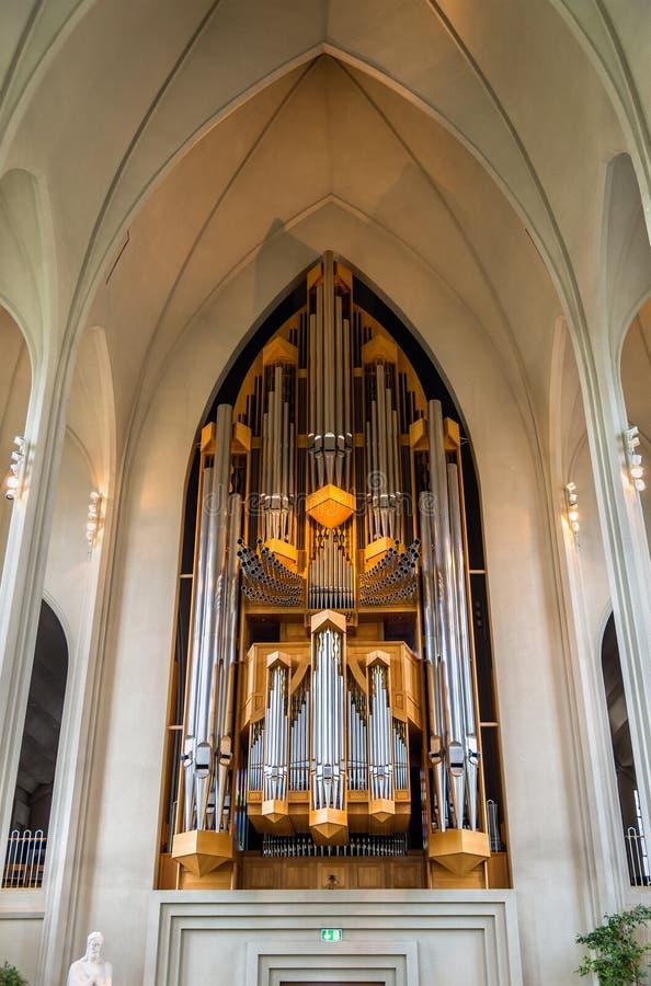 L'organo della chiesa di Hallgrimskirkja a Reykjavik immagine stock libera da diritti