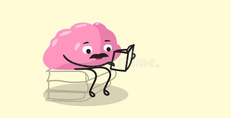 L'organo sveglio del cervello umano che si siede sui libri impila lo stile rosa di kawaii di concetto di istruzione del libro di  royalty illustrazione gratis