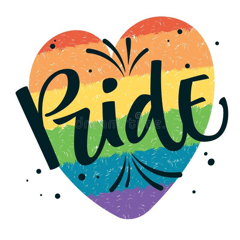 L'orgoglio del testo di Gay Pride con spruzza e punteggia la decorazione sul fondo gay variopinto del cuore dell'arcobaleno illustrazione di stock
